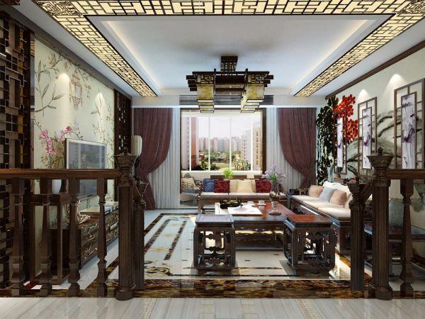 客厅吊顶中式古典风格装潢设计图片