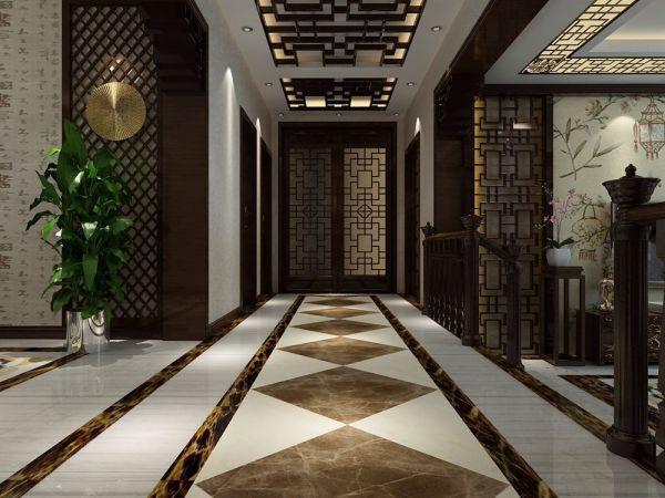玄关地砖中式古典风格效果图