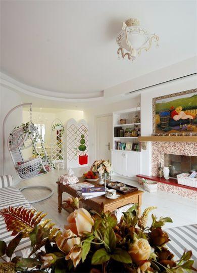 地中海风格86平米两室两厅新房装修效果图