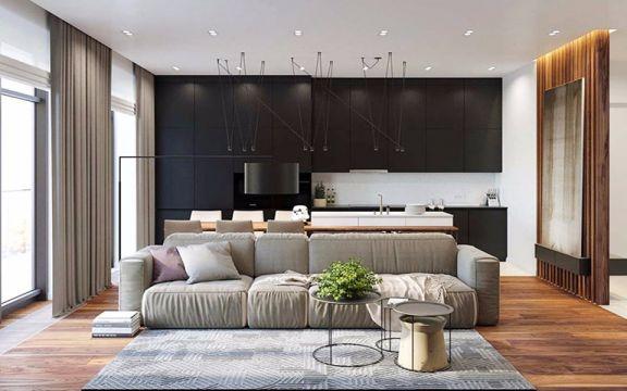 单身公寓56平米现代简约风格装修效果图