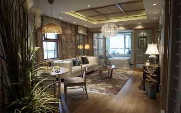 85平日式风格二居室装修效果图