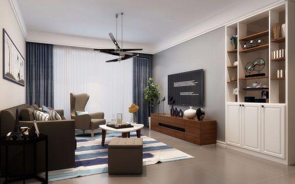 北欧风格127平米三室两厅新房装修效果图