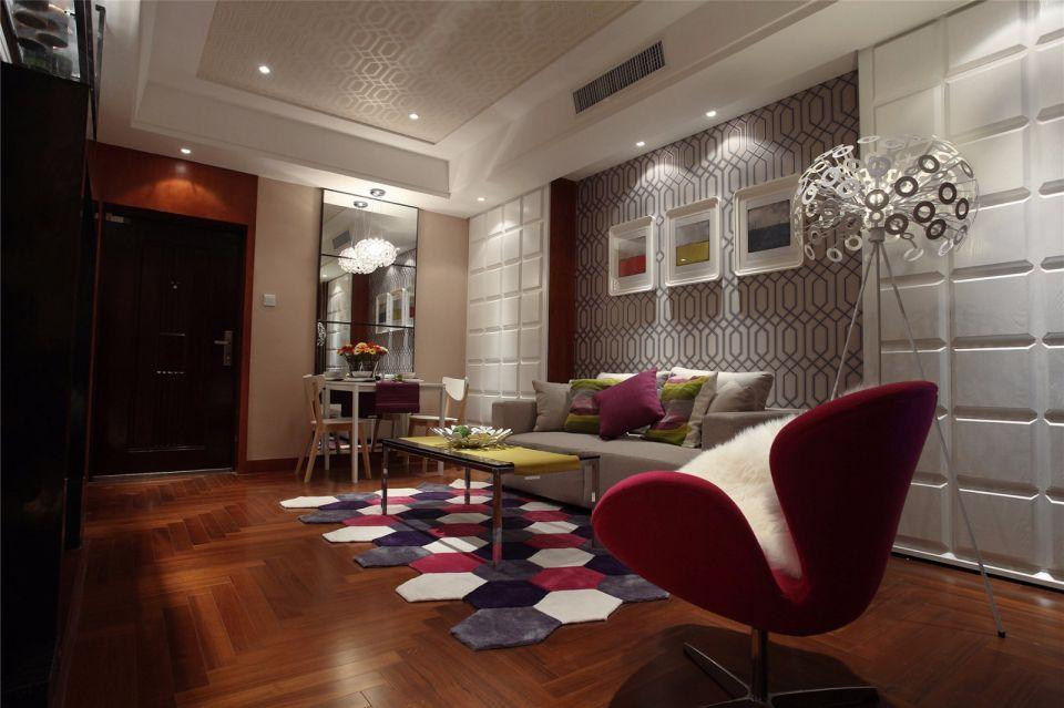 宝能城88平新中式风格三居室装修效果图