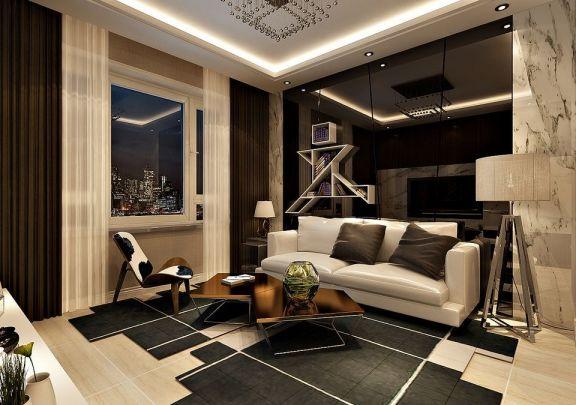 鲁商凤凰城51平米半包两室一厅现代奢华装修效果图