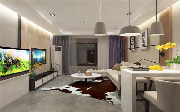 双港新盈家园112平米两居室现代风格效果图