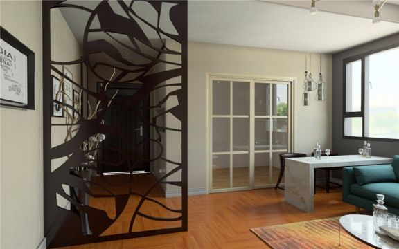 起居室推拉门北欧风格装潢效果图