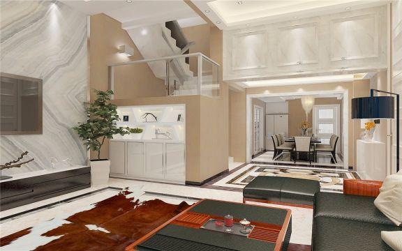 起居室楼梯新中式风格装饰图片