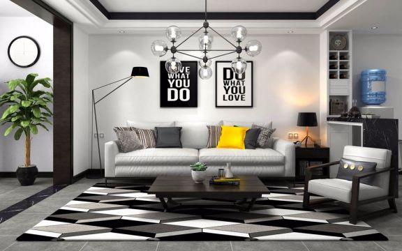 梅川路80平简约风格一居室装修效果图