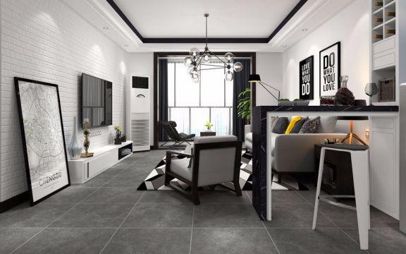 客厅地砖简约风格装潢图片