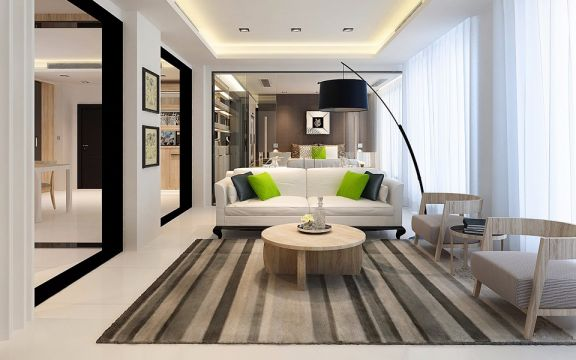 鑫都路90平简约风格一居室装修效果图