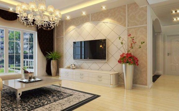 欧式风格80平米两室两厅新房装修效果图