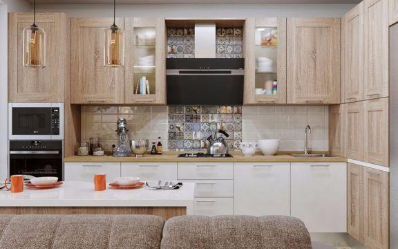 厨房白色橱柜北欧风格装潢效果图
