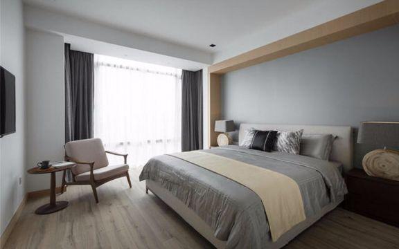 卧室灰色窗帘简约风格装潢设计图片