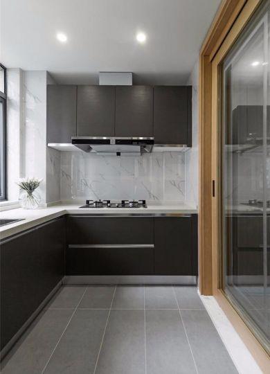 厨房黑色橱柜简约风格装修效果图