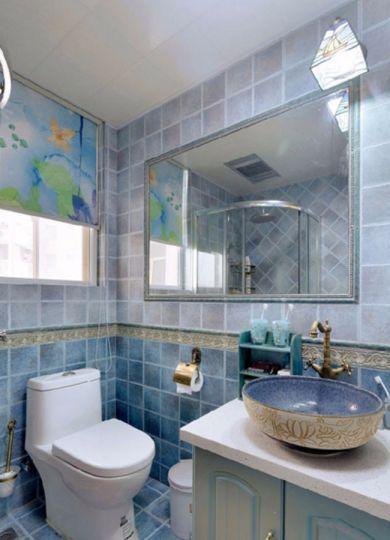 卫生间绿色洗漱台地中海风格装修设计图片
