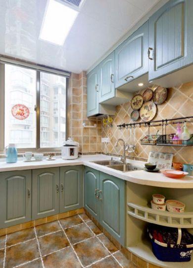 厨房绿色橱柜地中海风格装饰设计图片