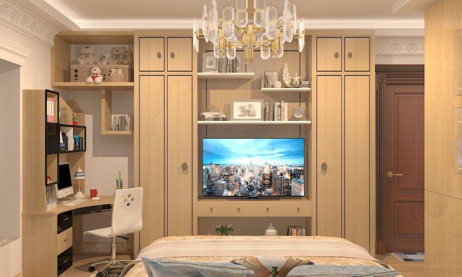 卧室黄色书桌欧式风格装潢图片