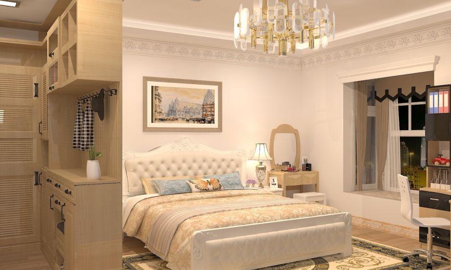 卧室黄色梳妆台欧式风格装饰设计图片