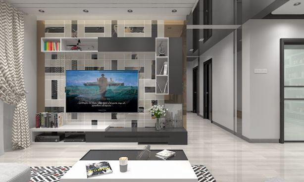 客厅灰色电视柜现代风格效果图