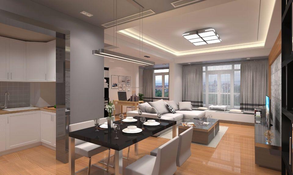 110平现代风格套房装修效果图