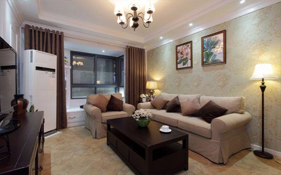 客厅咖啡色窗帘美式风格装潢设计图片