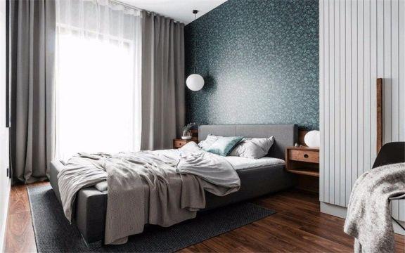卧室灰色窗帘现代风格装潢图片