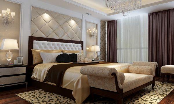 卧室咖啡色窗帘简欧风格装饰效果图