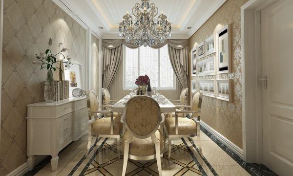 餐厅白色餐桌简欧风格装潢效果图