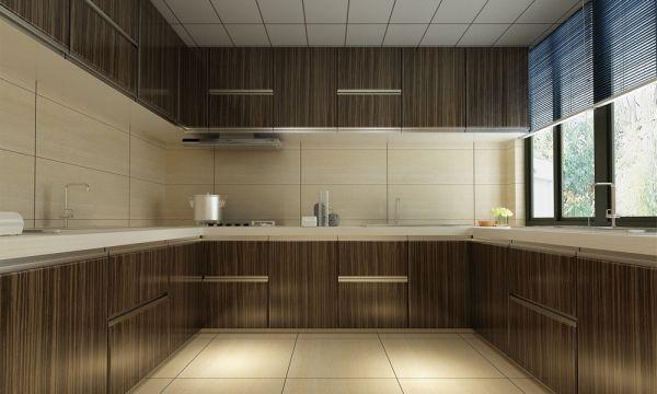 厨房咖啡色橱柜简欧风格装修图片