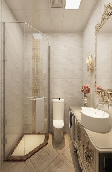卫生间白色吊顶简欧风格装饰图片