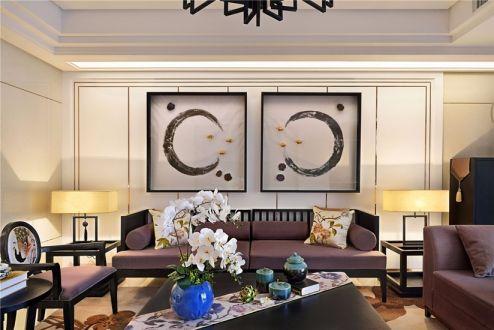 客厅咖啡色沙发新中式风格装修图片