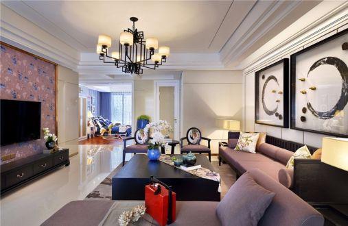绿地城新中式风格100平四居室装修效果图
