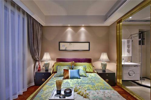 卧室灰色窗帘新中式风格装修设计图片