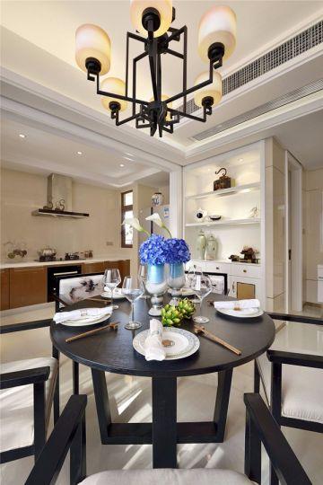 餐厅黑色餐桌新中式风格装饰设计图片