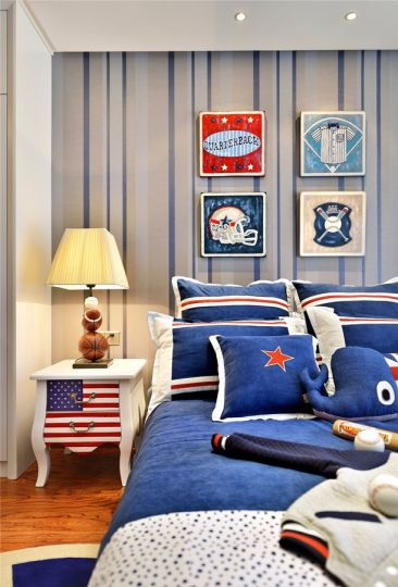 卧室白色床头柜新中式风格装潢设计图片