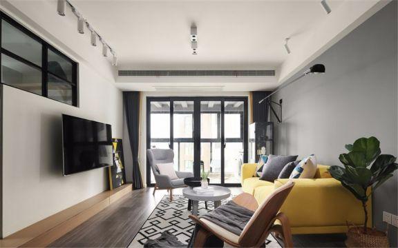 客厅黄色沙发现代风格装修设计图片