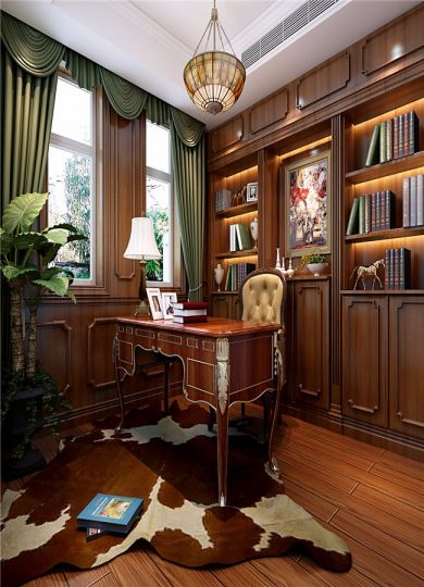 书房书架欧式风格装潢效果图
