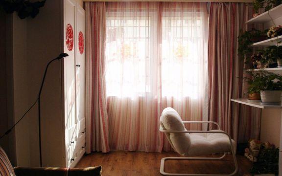 阳台粉色窗帘田园风格装饰图片