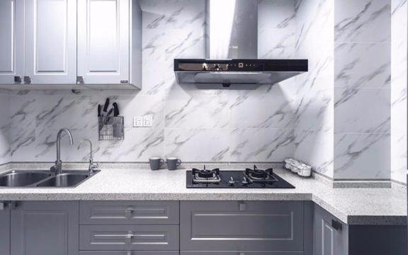 厨房灰色橱柜美式风格装潢图片