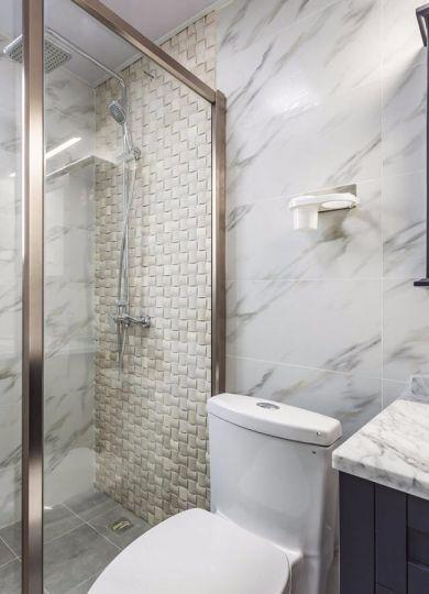 卫生间灰色背景墙美式风格装修设计图片