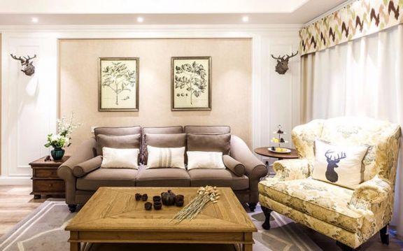客厅咖啡色沙发美式风格装修图片