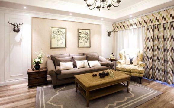 客厅咖啡色茶几美式风格装潢图片