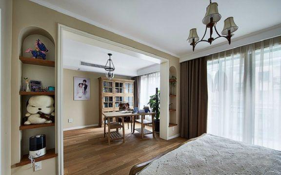 卧室咖啡色窗帘田园风格装修图片