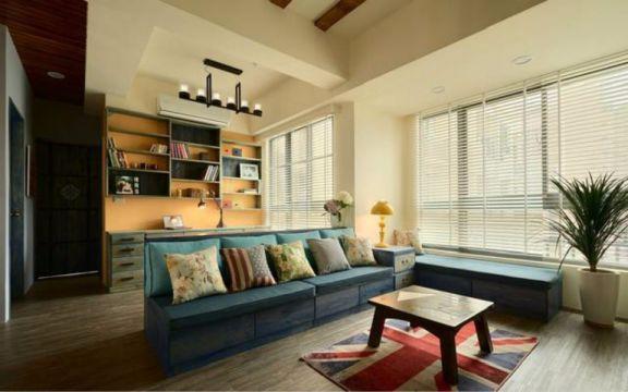 客厅蓝色沙发田园风格装饰图片