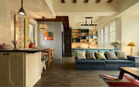 客厅灰色地板砖田园风格装潢图片