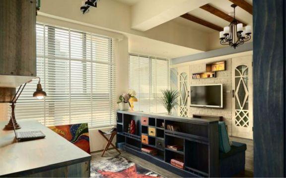 客厅白色书桌田园风格效果图