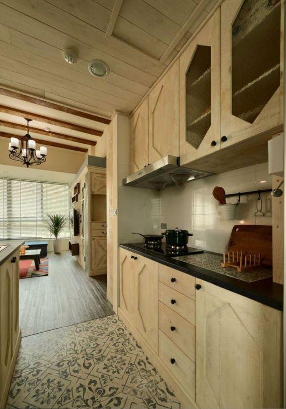 厨房黄色橱柜田园风格装修效果图