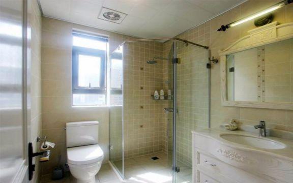 卫生间白色洗漱台田园风格装饰效果图