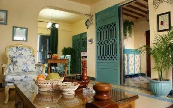 客厅咖啡色茶几田园风格装修图片