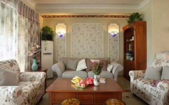 客厅沙发田园风格装潢图片